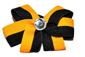 Yellow and Black Striped Bow (Stripes and Chevron) - Dream Lily Designs