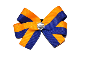 Yellow and Blue Striped Bow (Stripes and Chevron) - Dream Lily Designs