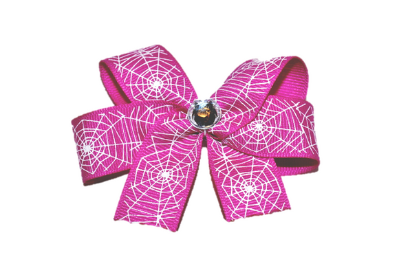 Magenta Spider Web Bow (Halloween) - Dream Lily Designs