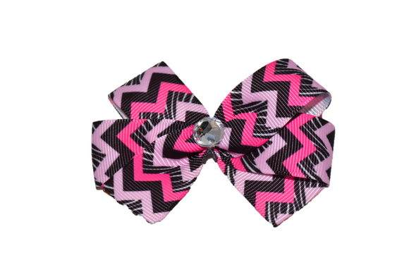 Black and Pink Chevron Bow (Stripes and Chevron)