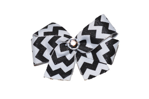 Black and White Glitter Chevron Bow (Stripes and Chevron) - Dream Lily Designs