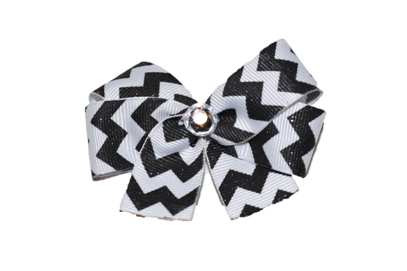 Black and White Chevron Bow (Stripes and Chevron)