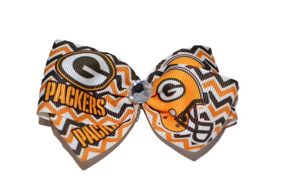 1.5 Inch Packers Chevron Bow (Sports Teams) - Dream Lily Designs
