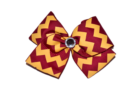 1.5 Inch Maroon and Yellow Chevron Bow (Stripes and Chevron) - Dream Lily Designs