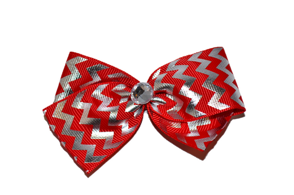 1.5 Inch Red and Silver Chevron Bow (Stripes and Chevron) - Dream Lily Designs