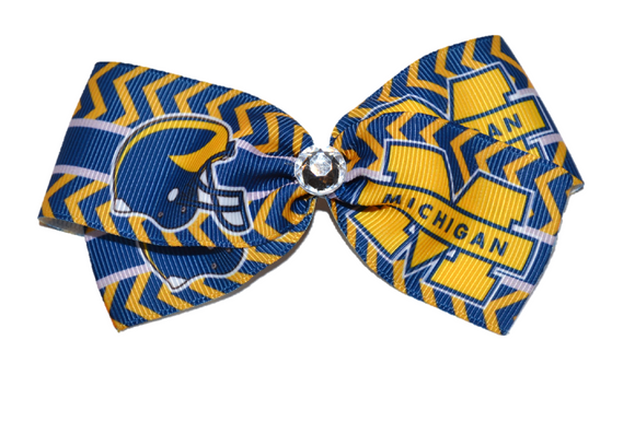 1.5 Inch Michigan Chevron Bow (Sports Teams) - Dream Lily Designs