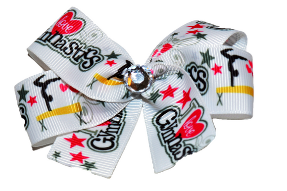 White I Love Gymnastics Bow (Sports) - Dream Lily Designs