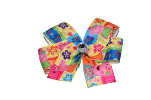Peppa Pig Bold Pink Blue Yellow Bow (Misc Characters) - Dream Lily Designs