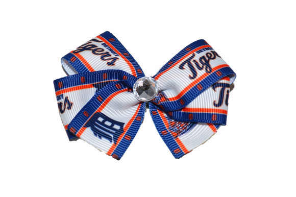 Blue Border Detroit Tigers Bow (Sports Teams) - Dream Lily Designs