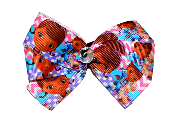 Doc McStuffins Purple Pink Chevron Bow (Disney) - Dream Lily Designs