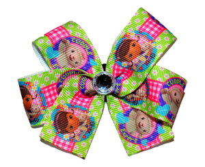 Doc McStuffins Green Pink Checker Bow (Disney) - Dream Lily Designs