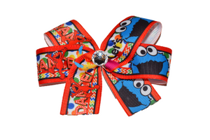Elmo Cookie Monster Dance Sesame Street Bow (Misc Characters) - Dream Lily Designs
