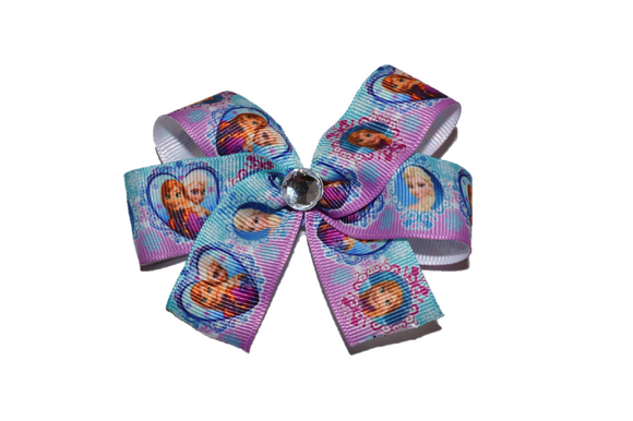 Frozen Elsa Anna Heart Purple Aqua Bow (Disney) - Dream Lily Designs