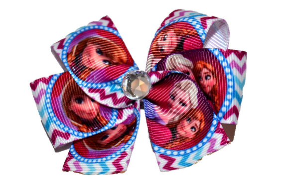 Frozen Elsa Anna Chevron purple blue Bow (Disney) - Dream Lily Designs