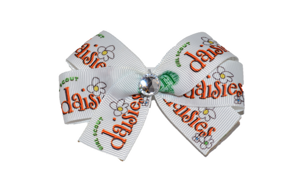 White Daisies Bow (Girl Scouts) - Dream Lily Designs