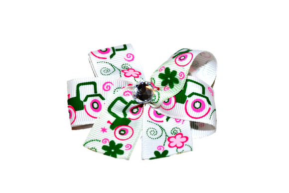 Green Tractors and Pink Flower Bow (John Deere Tractor) - Dream Lily Designs