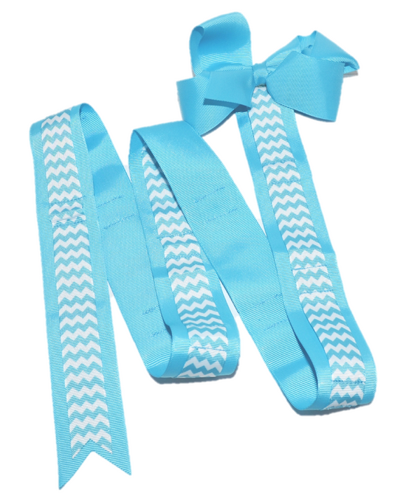Blue Chevron Headband and Hairbow Holder