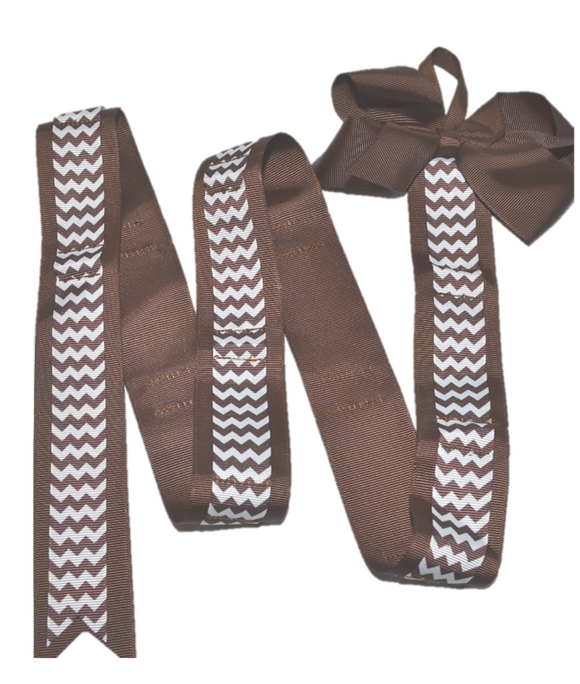 Brown Chevron Headband and Hairbow Holder