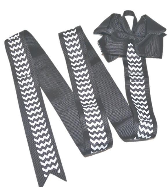 Black Chevron Headband and Hairbow Holder - Dream Lily Designs