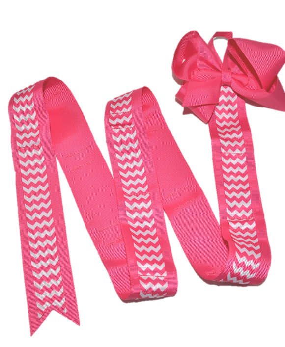 Hot Pink Chevron Headband and Hairbow Holder