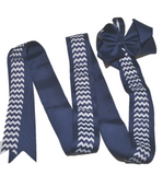 Navy Chevron Headband and Hairbow Holder - Dream Lily Designs