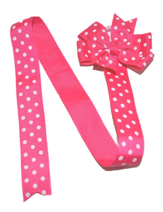 Hot Pink Polka Dot Hair Bow Holder - Dream Lily Designs