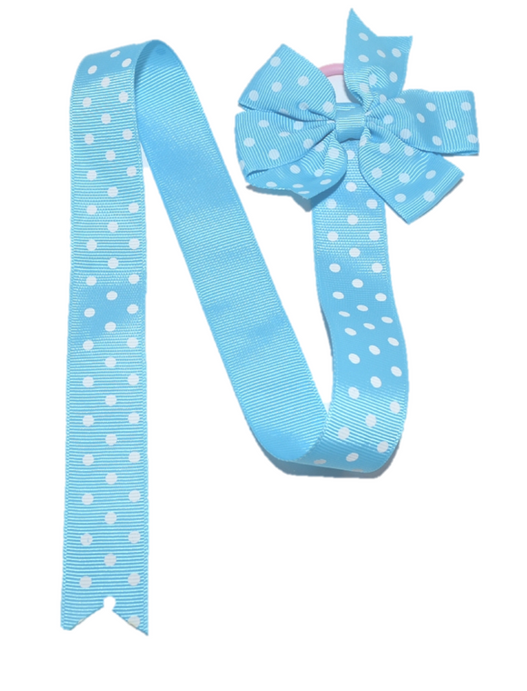 Blue Polka Dot Hair Bow Holder