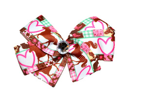 Hearts and Horses Bow (Animal) - Dream Lily Designs
