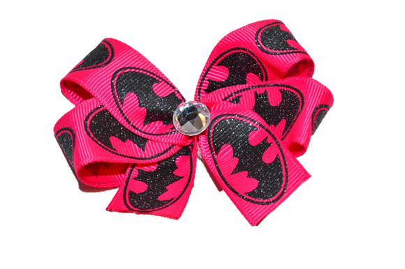 Hot Pink Batman Bow (Superhero) - Dream Lily Designs