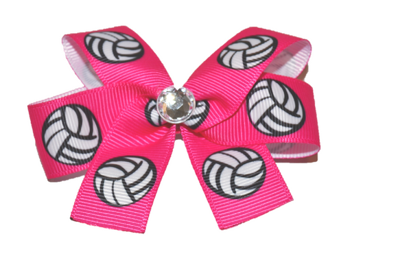 Hot Pink Volleyball Bow (Sports) - Dream Lily Designs
