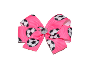 Pink Soccer Bow (Sports) - Dream Lily Designs