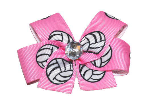 Pink Volleyball Bow (Sports) - Dream Lily Designs