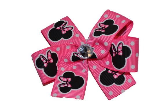 Pink Polka Dot Minnie Bow (Minnie) - Dream Lily Designs