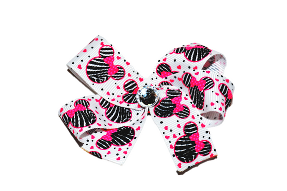 White Pink and Black Zebra Minnie Bow (Minnie)