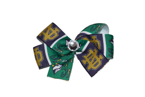Green Notre Dame Fighting Irish Bow (Sports Teams) - Dream Lily Designs