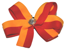 Yellow and Red Striped Bow (Stripes and Chevron) - Dream Lily Designs