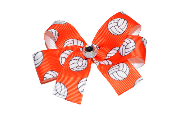 Orange Volleyball Bow (Sports) - Dream Lily Designs