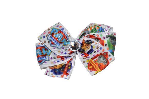 Paw Patrol White Shield Bow (Misc Characters) - Dream Lily Designs