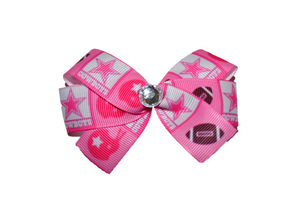 Pink Cowboys Bow (Sports Teams) - Dream Lily Designs