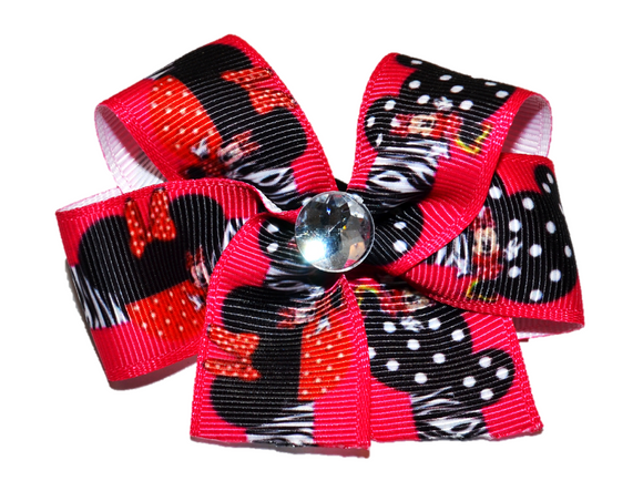 Hot Pink and Black Minnie Bow (Minnie)