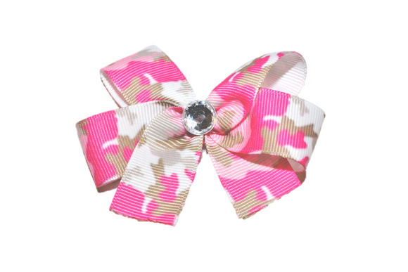 Pink and Tan Camo Bow (Service) - Dream Lily Designs