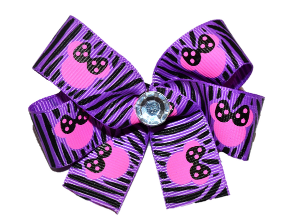 Purple Zebra Minnie Bow (Minnie)
