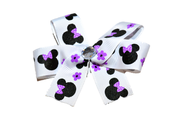 White and Purple Flower Minnie Bow (Minnie) - Dream Lily Designs