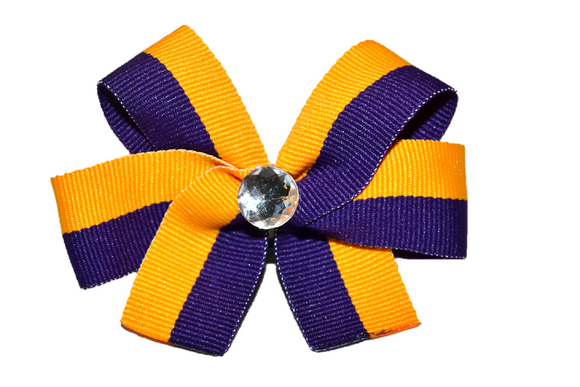 Yellow and Purple Striped Bow (Stripes and Chevron) - Dream Lily Designs