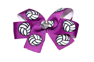 Purple Volleyball Bow (Sports) - Dream Lily Designs