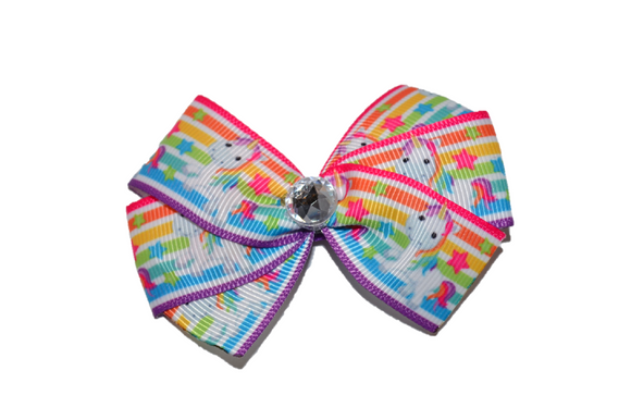 1 Inch Rainbow Unicorn Bow (Animal)