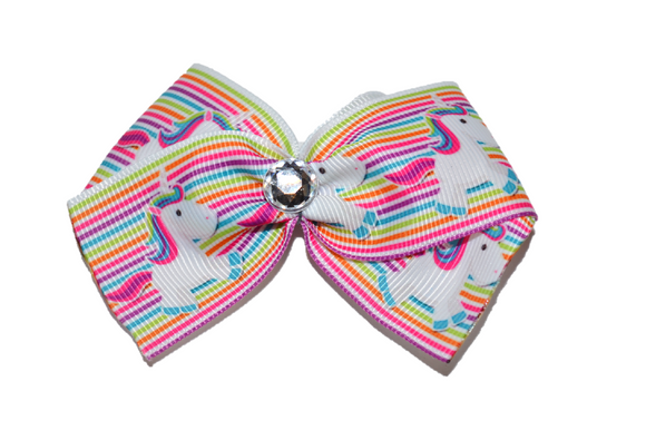 1.5 Inch Rainbow Unicorn Bow (Animal) - Dream Lily Designs