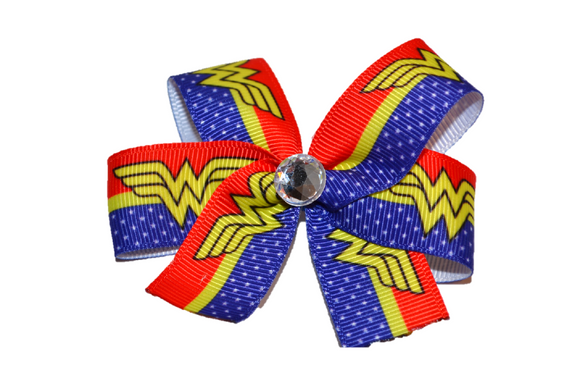 Red and Blue Wonder Woman Bow (Superhero) - Dream Lily Designs