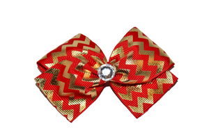 1.5 Inch Red and Gold Chevron Bow (Stripes and Chevron) - Dream Lily Designs