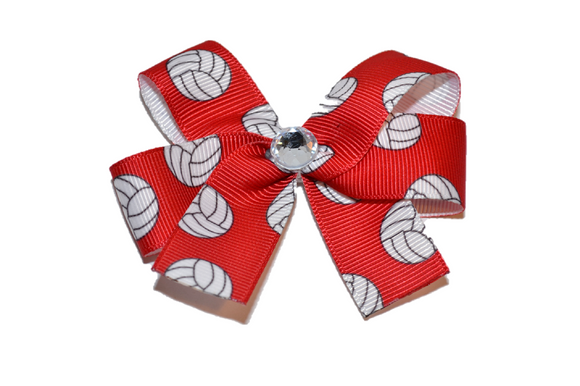 Red Volleyball Bow (Sports) - Dream Lily Designs